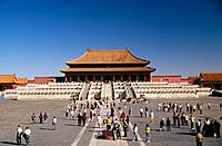 The Forbidden City imperial palace complex in the centre of Beijing in a walled compound of traditional Ming and Qing buildings,and is the major touri...
