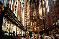 The 14th century Gothic church of St Mary´s in the old city of Cracow has a famous altarpiece carved in wood by Veit Stoss.