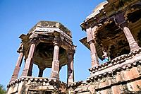 There is a chhatri or pavilion with 32 carved pillars and scalloped arches in the complex of buildings within Ranthambhore Fort in Ranthambhore Nation...
