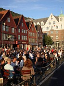Norway, Bergen, Bryggen historic area, people.