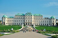 High Belvedere Palace façade's view from the gardens  Superior Waterfall, five levels' fountain  The artistic collection consists of the two Belvedere...