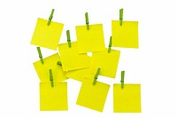 arrangement of memorandum memory post-it with clips