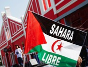 Demonstrators from Western Sahara carrying flags saying 'Sahara Libre' free Sahara at demonstration in Las Palmas on Gran Canaria  Western Sahara has ...