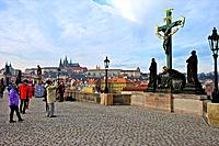 Czech Republic, Prague, Charles bridge, tourists