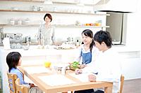 Family eating breakfast, Hyogo Prefecture, Honshu, Japan