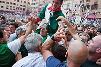 the victory, contrada of the goose, palio of siena, siena, tuscany, italy, europe
