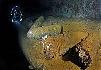 Scuba Diver discover WWII 14inch Naval Shells on Japanese Wreck Yamagiri Maru, Truk Lagoon, Micronesia, Pacific Ocean, Chuuk