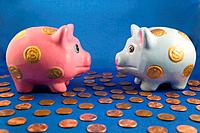 piggy bank couple´s financial discussion