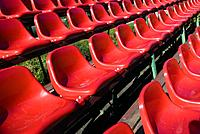 Rows of seats for spectatores in a football arena!