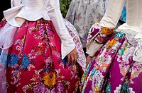 Fogueres beauties dress detail at Hogueras de San Juan, Fogueres de Sant Joan festival  Alicante City, Costa Blanca, Spain, Europe
