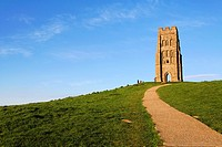 St Michael's tower on Glastonbury Tor, Glastonbury, Somerset, England
