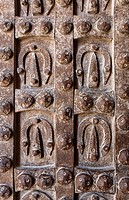 Close up of the metal doors of the gatehouse of the Citadel of Aleppo, Syria
