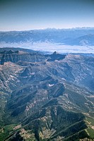 Aerial over the Absaroka Range, north of Yellowstone National Park MONTANA