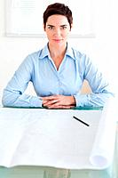 Serious short_haired businesswoman with a architectural plan in an office