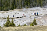 Tourists on boardwalk path over fragile ground at Upper Geyser Basin, Yellowstone National Park, Wyoming