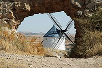 Detail of one of the windmills of Consuegra, Toledo, Castilla La Mancha, Spain