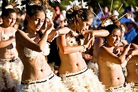 Polynesian dancers in the annual parade for the Tapati Festival