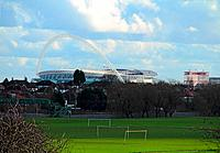 England, London, Northwick Park. Wembley stadium dominating the skyline of north west London seen from Northwick Park.