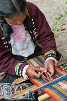A Woman Weaves Colorful Fabric, Cusco Peru