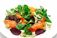 Vegetables and roe meals salad