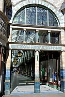 England, Norfolk, Norwich. The entrance to the Royal Arcade in Norwich, built in 1899 on the site of the yard of the Royal Hotel.