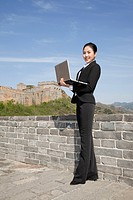 Business woman on the Great Wall