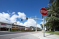view of signal light on street, Agana city, Guam