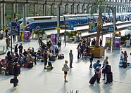 Paris, France, French TGV Bullet Train, on Quay, inside Gare de Lyon Train Station