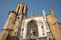 Main Facade of St Sauveur Cathedral, Aix-en-Provence, France