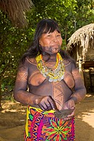 Woman of the Native Indian Embera Tribe, Embera Village, Panama