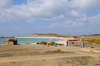 View of coastal fishing village, Abd el_Kuri Island, Socotra, Yemen, april