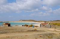View of coastal fishing village, Abd el_Kuri Island, Socotra, Yemen, april