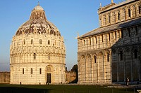 The cathedral and baptistery in Piazza dei Miracoli, Pisa, Italy