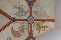 Südliches Seitenschiff, Fresken im Westjoch, Evangelistensymbole