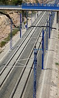 Spain, Catalonia, Lleida province, High Speed train rails