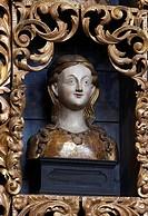 Goldene Kammer, Reliquienbehälter Kopfreliquiar nach der Restaurierung mit historischer Farbfassung blau, Nordwand