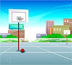 outdoors basketbal court, outdoors, scenic, scenery, landscape, basketball, background