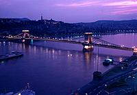 hungary, budapest, bridge over danube river at night