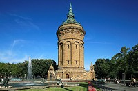 D-Mannheim, Rhine, Neckar, Rhine-Neckar area, Baden-Wuerttemberg, water tower, architect Gustav Halmhuber, monumental building, neo-baroque, art nouve...