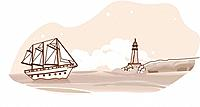 line illustration, ship, seasons, lighthouse, cruise ship, cloud