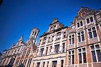 Row of houses with flemish gables, Bruges, West Flanders, Belgium