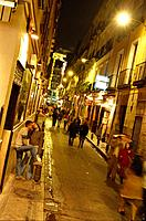 Street in the evening, Calle de Echegaray, Madrid, Spain