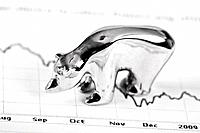Close up of bear figurine on stock chart