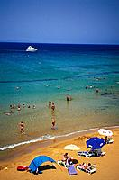 Sandy beach in the sunlight, Ramla Bay, Gozo Island, Malta, Europe