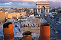 View over roofs onto Arch of Triumph in the evening, Place de l´Etoile, Paris, France, Europe