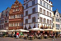 Main market with Steipe and Rotes Haus, Trier, Mosel, Rhineland_Palatinate, Germany, Europe