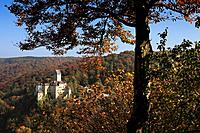 View from Michelsberg rock to the castle, Kipfenberg, nature park Altmuehltal, Franconian Alb, Franconia, Bavaria, Germany