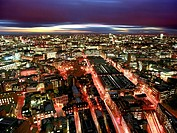 london panoramic night view barbican england uk