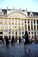 People and buildings at the Grand Place, Brussels, Belgium, Europe