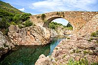 Stone Bridge over Fango River, Fango Valley, Corsica, France, Europe